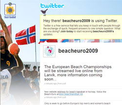 "Let's ""twitter"" about Beach Handball"