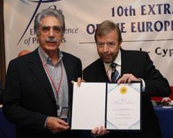 Mr. Lottas receiving award from EHF President Lian