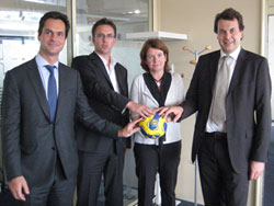 From left to right: Jacques Raynaud, Vice President, Peter Vargo EHFM Managing Director, Katharina Poggioli, Deputy Director Acquisitions, Laurent-Eric Le Lay, CEO