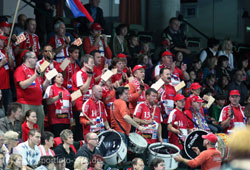 The Slovenian fans with their drums