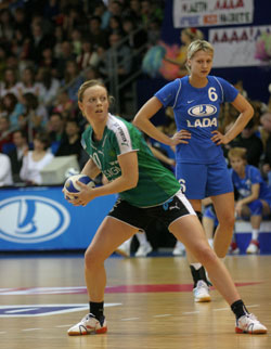 Mikkelsen playing her last CL game up to now against Lada in 2007