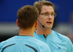 The headset ensures smooth communication between referees