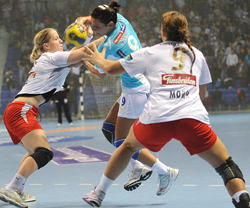 Larvik in their Group Stage match against Buducnost.