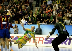 Koksharov trying against Hvidt - the Danish goalie was in top form again