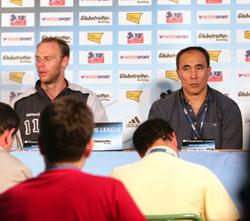 Stefansson and Dujshebaev at the press conference
