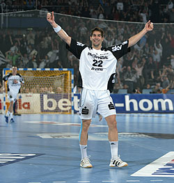 Karabatic celebrates one of his 89 goals this season