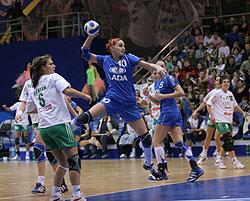 Gruzdeva on goal against Győr