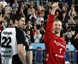 The Kiel stars celebrate once again in front of their fans