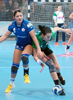 Popovic (in green) had to fight hard for six goals and the draw in Podgorica
