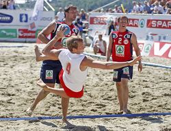 Beach Handball action from Norway